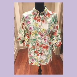 Zara Floral Tiered Sleeve Blouse